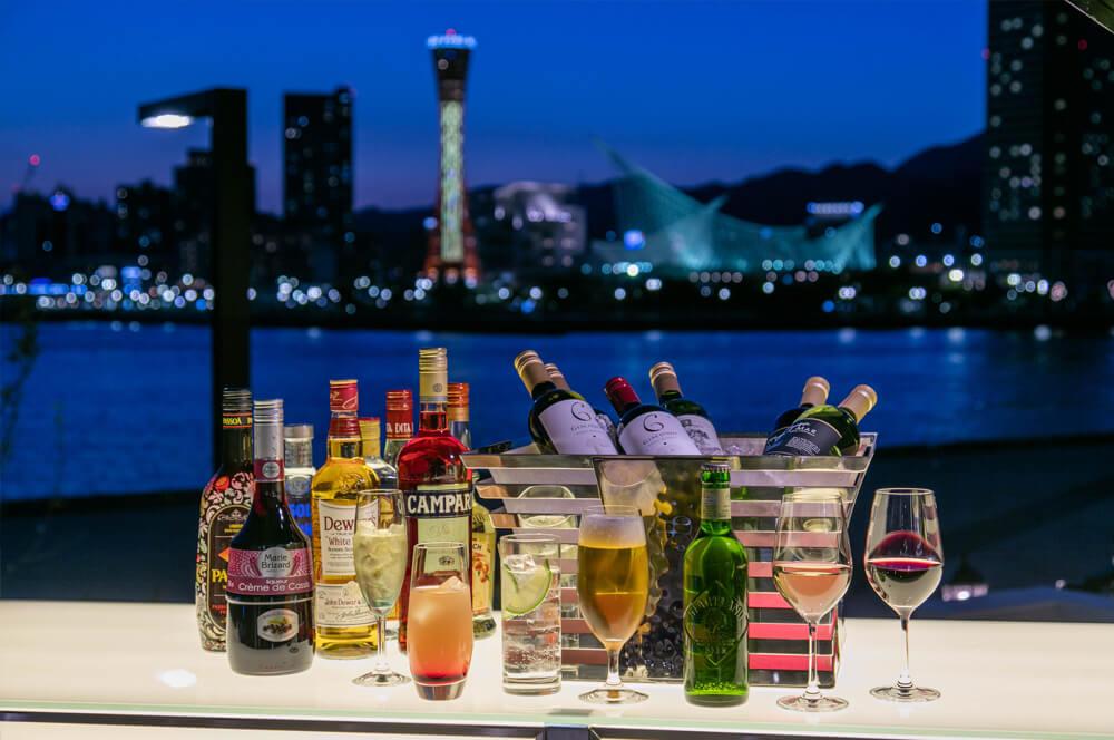 神戸港の夜景とドリンク